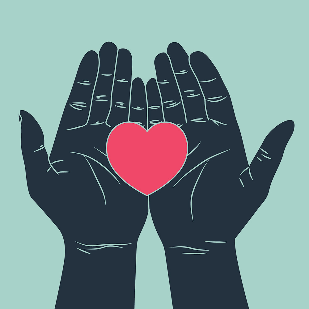 Two hands holding a big red heart for freelance copywriter case study
