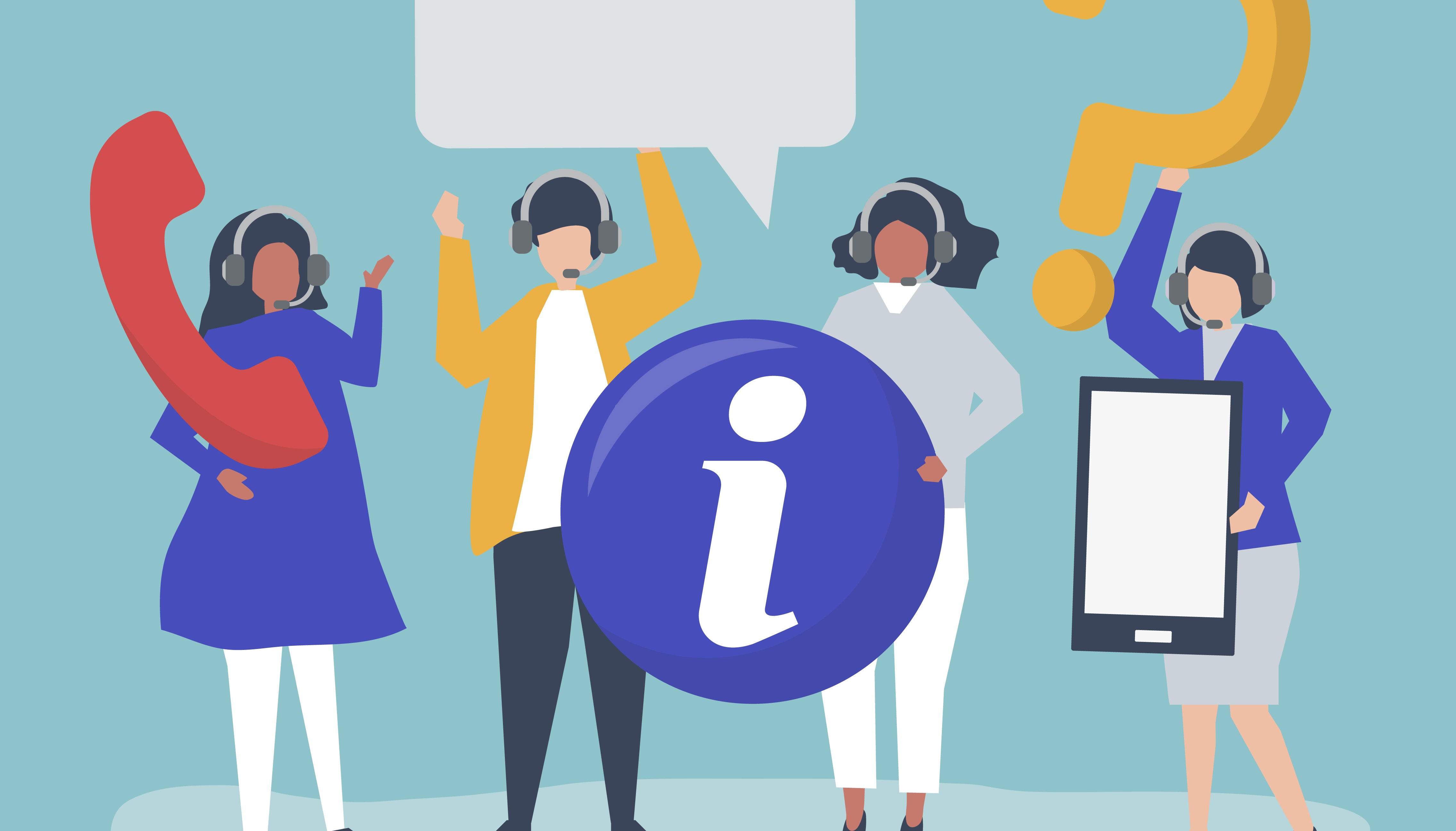 Call center operators carrying communication icons